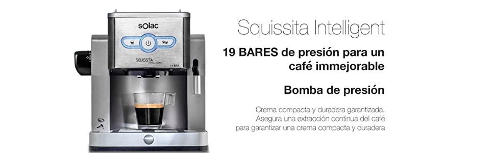 Solac New Squissita Intelligent-Cafetera (19 Bar de presión ...