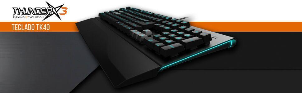 Thunder X3 TK40- Teclado gaming Híbrido Mecánico- (Efecto LED, Mayor precisión, respuesta ultra rápida, capacidad- anti-ghosting) Color Negro