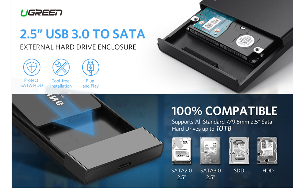 UGREEN External Hard Drive Cases Adapter USB 3.0 to SATA Hard Disk