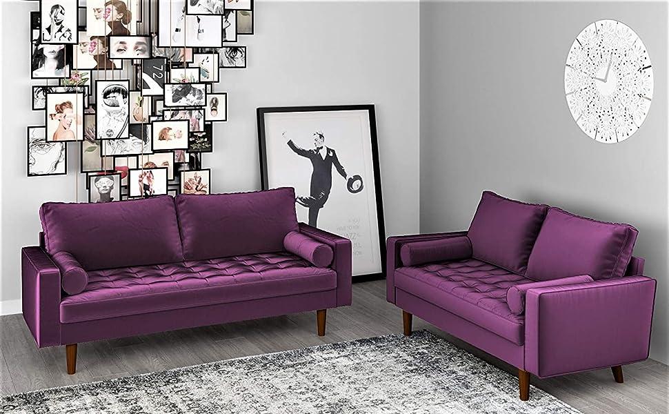 Container Furniture Direct Triangular Modern Velvet Upholstered Living Room Loveseat 48.40 Beige