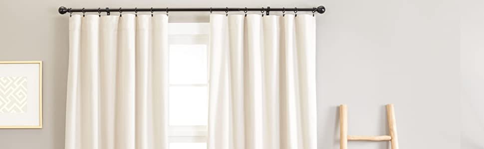 AmazonBasics Curtain Rod With Round Finials