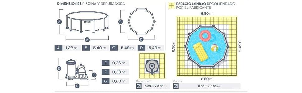 Intex Prisma Frame - Piscina desmontable, 549 x 122 cm, con ...