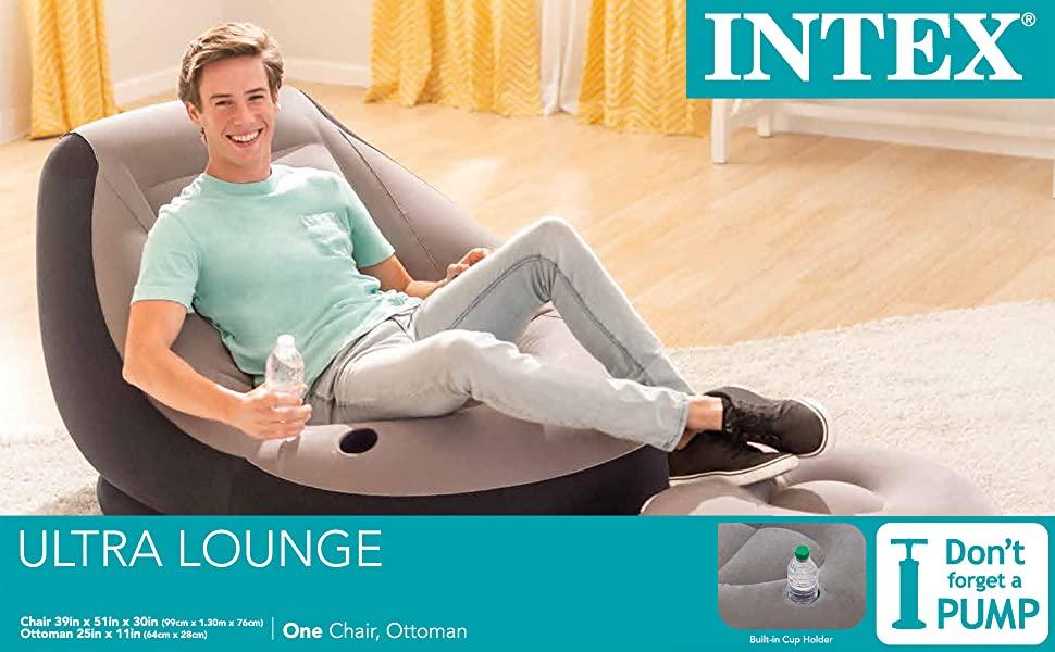 intex Ultra Lounge Chair and Ottoman, Multi-Colour