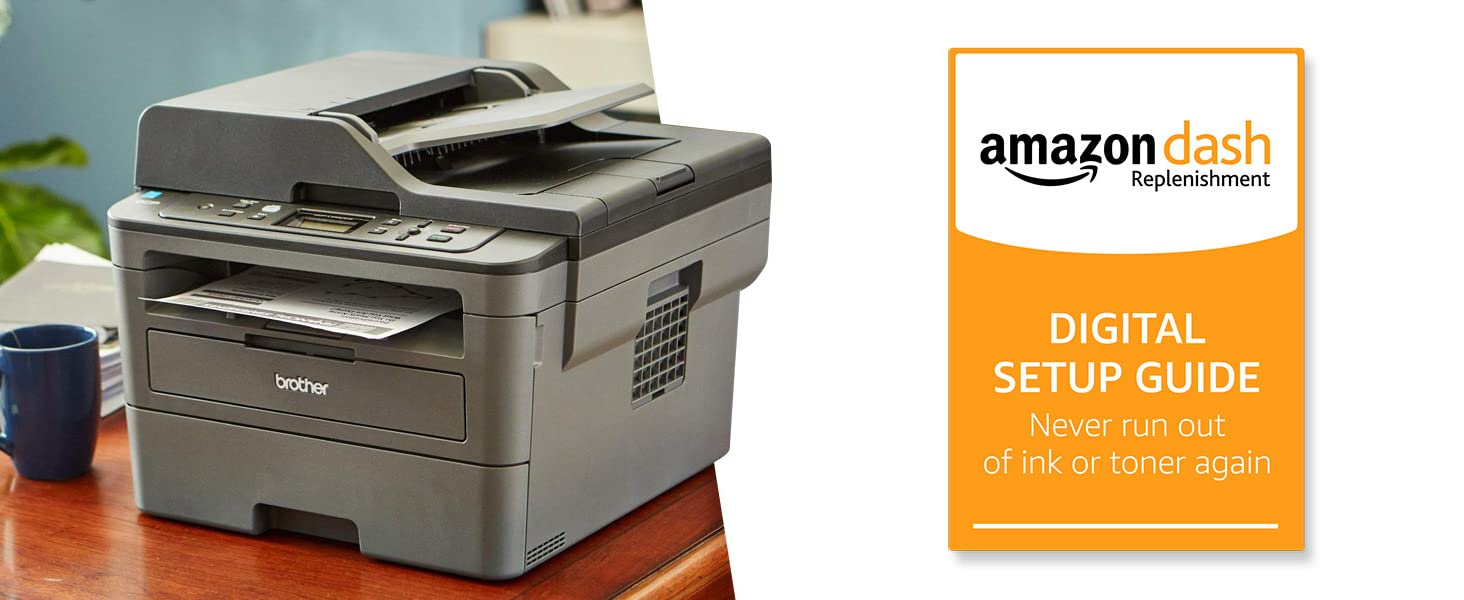 Brother Monochrome Laser Printer, Amazon Dash Replenishment Enabled