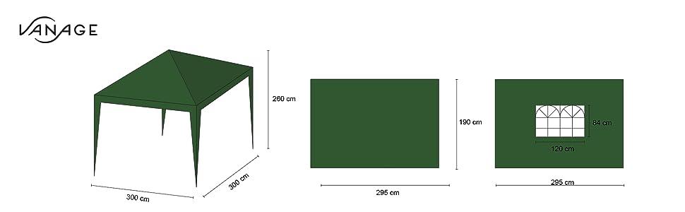 Vanage vg-8422 300 x 300 x 260 cm Gazebo – Beige: Amazon.es: Jardín