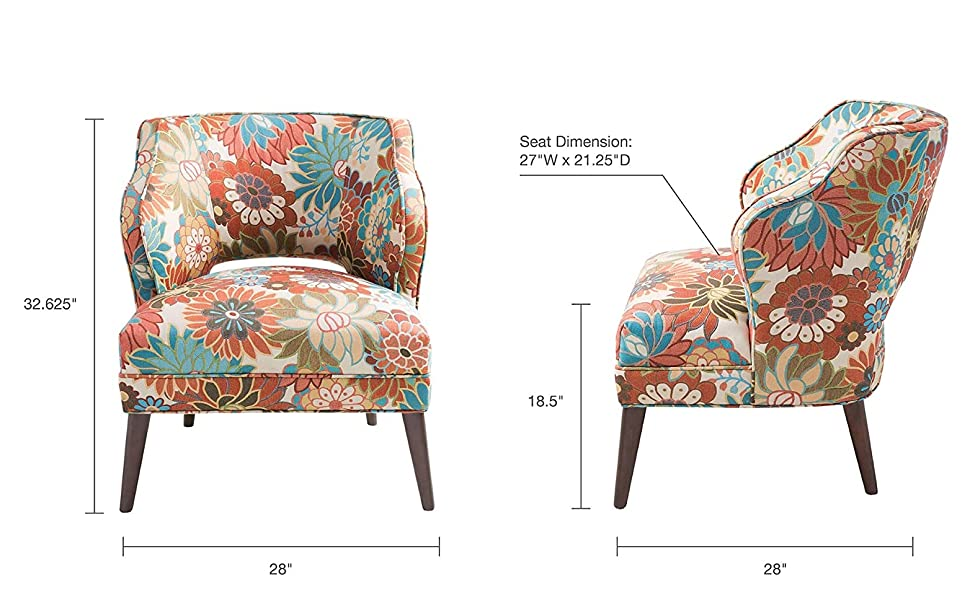 Madison Park Cody Accent Chairs Hardwood Brich Wood Floral Bedroom Lounge Mid Century Modern Deep Seating Wingback Club Style Living Room Furniture Multi Furniture Decor