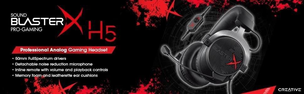 Creative Sound BlasterX H5 Cuffie con Microfono da Gioco Analogiche ... 3b7967ed5152