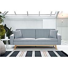 "Novohogar Elegante Sofá Cama 3 Plazas Malmö Confortable y Fácil de Abrir Gracias a su Sistema ""Clic-clac o ""de Libro (Rosa)"