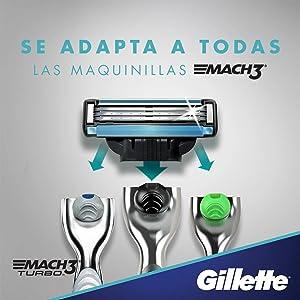 Gillette Mach3 Cuchillas de Afeitar para Hombre - 16 unidades ...