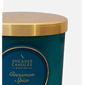 """Teal Shearer Candles Large /""""Cinnamon Spice/"""" Scented Tin Candle"""