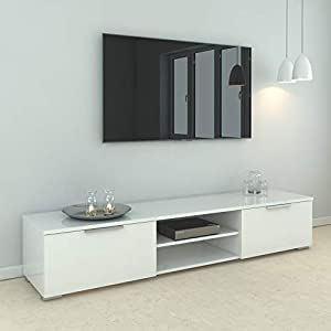 Tvilum Match TV Table for 65 inch TV, White, Size: 33.1 x 172.7 x 39.9 cm