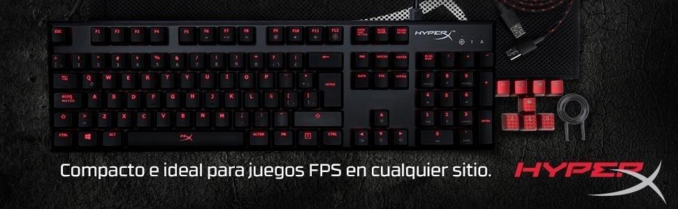 HyperX Alloy FPS - Teclado mecánico Gaming Cherry Brown, Tipo QWERTY latinoamericano