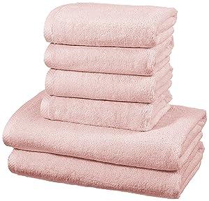 Juego de 6 toallas de algodón de secado rápido de AmazonBasics
