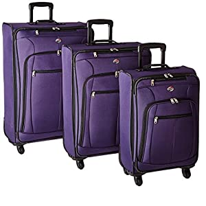 American Tourister Pop Plus 3-Piece Softside (SP21/25/29) Luggage Set with Multi-Directional Spinner Wheels, Purple