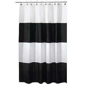 Interdesign Zeno Waterproof Shower Curtain, Black and White, 72 Inches X 72 Inches