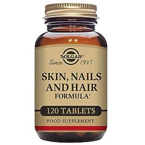 Solgar® Pelo, Piel y Uñas, 120 Comprimidos - Mantenimiento de pelo, piel y uñas con brillo. Contiene vitamina C para la formación de colágeno. Apto ...