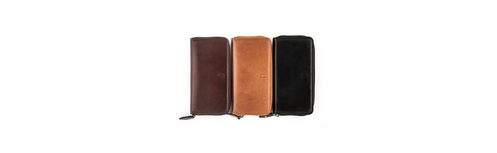 Alfa Leather Co. Leather Front-Logo Rectangular Bifold Wallet for Men - Black