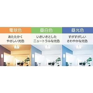 お部屋や用途に合わせて選べる3色のあかり