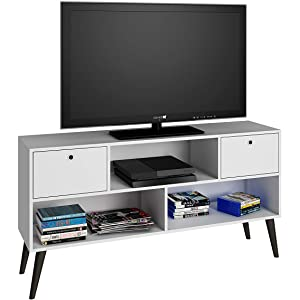 BRV Moveis TV Table With Three Shelves and Two Drawers for 50 inch TV - White