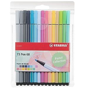 Rotulador STABILO Pen 68 - Estuche con 15 colores