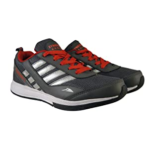 02e51eb85 Action Shoes Men s Dark Grey and Red PU-Mesh Sports Shoes - 8 UK ...