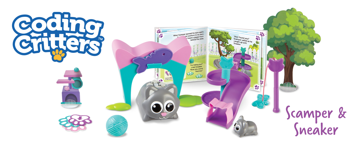 Amazon.com: Learning Resources Coding Critters Scamper & Sneaker, Toy of the Year Award Winner, Homeschool, Interactive STEM Coding Toy, Early Coding Toy for Kids, 22 Piece Set, Ages 4+: Toys & Games
