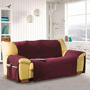 Eysa Bianca - Funda de sofa con lazos delanteros y traseros, 100% algodón, Crudo, Tres Plazas