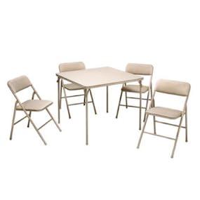 Amazon Com Cosco 37557ante 5 Piece Folding Table And Chair Set Antique Linen
