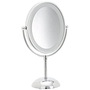 conair oval shaped led doublesided lighted makeup mirror