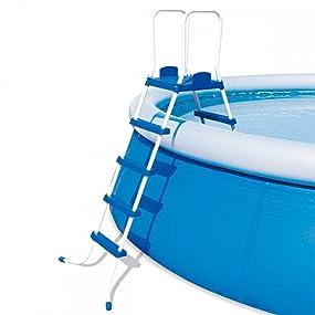 Bestway 58332 - Escalera para piscinas de 132 cm, con plataforma, 1 unidad, Gris: Amazon.es: Jardín