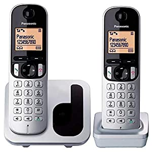 Panasonic KX-TGC212 - Teléfono fijo inalámbrico Dúo (LCD, identificador de llamadas, agenda de 50 números, tecla de navegación, modo ECO, reducción de ...