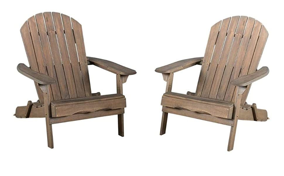 Christopher Knight Home Hanlee Folding Wood Adirondack Chairs 2 Pcs Set Grey Finish Garden Outdoor