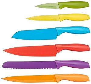 Compra AmazonBasics - Juego de cuchillos de colores, 12 ...
