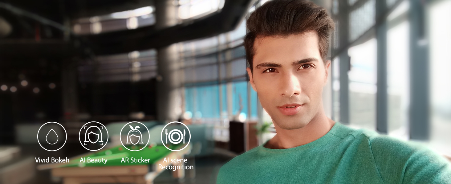 The camera with Bokeh mode is powered by 8 million AI beauty solves, capturing real expressions.