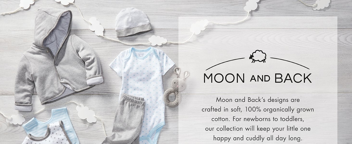 Blue Sky 12 Months Moon and Back Set of 5 Organic V-Neck Short-Sleeve T-Shirts
