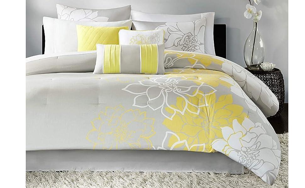 Madison Park Lola Sateen Cotton Comforter Set Casual Medallion Floral Design All Season Down Alternative Bedding Shams Bedskirt Decorative Pillows Queen 90 X90 Grey Yellow Home Kitchen