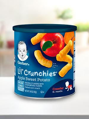 Lil' Crunchies Whole Grain Corn Snacks are delicious and nutritious, perfect for Crawlers.