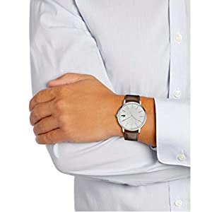 Lacoste Mens Quartz Watch, Analog Display and Leather Strap 2011002