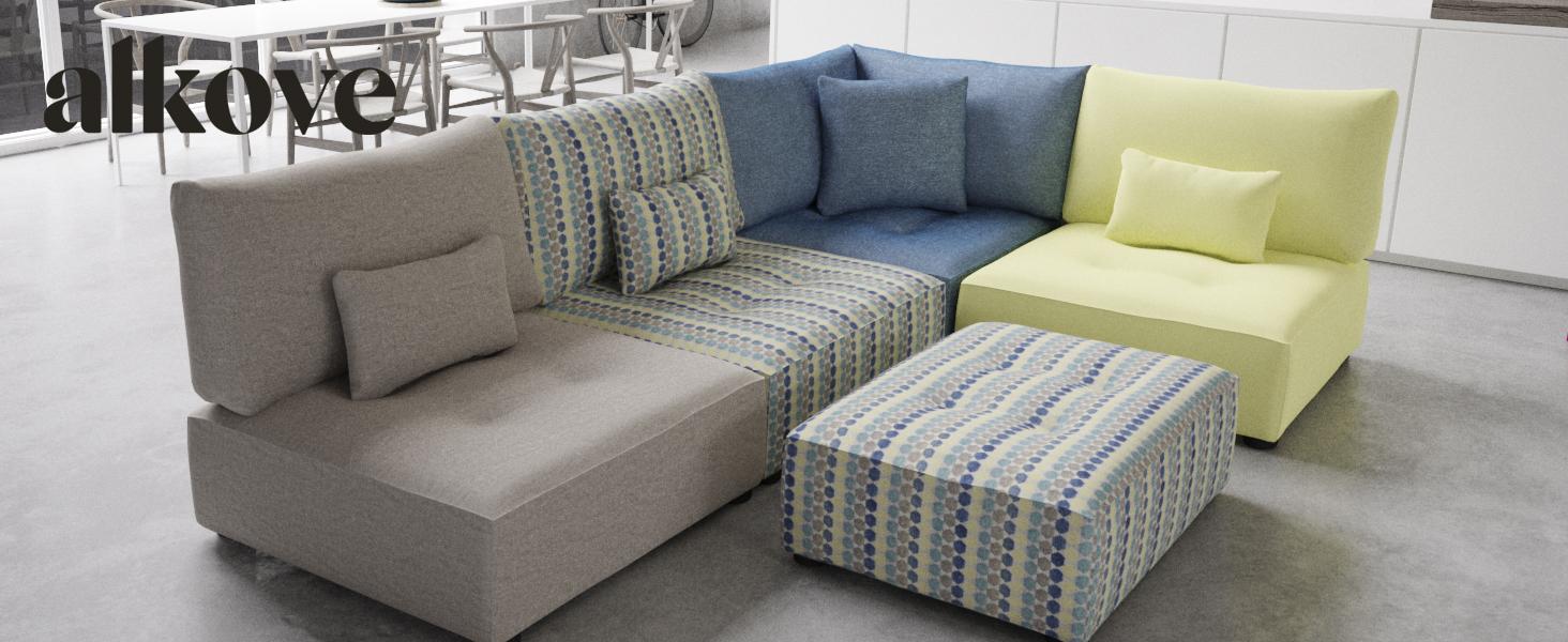 Alkove Elvas - Reposapiés grande para sofá modular, 93 x 93 ...
