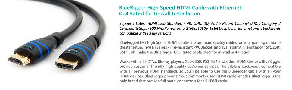 BlueRigger High Sd HDMI Cable with Ethernet - Supports 3D, 4K 60Hz on