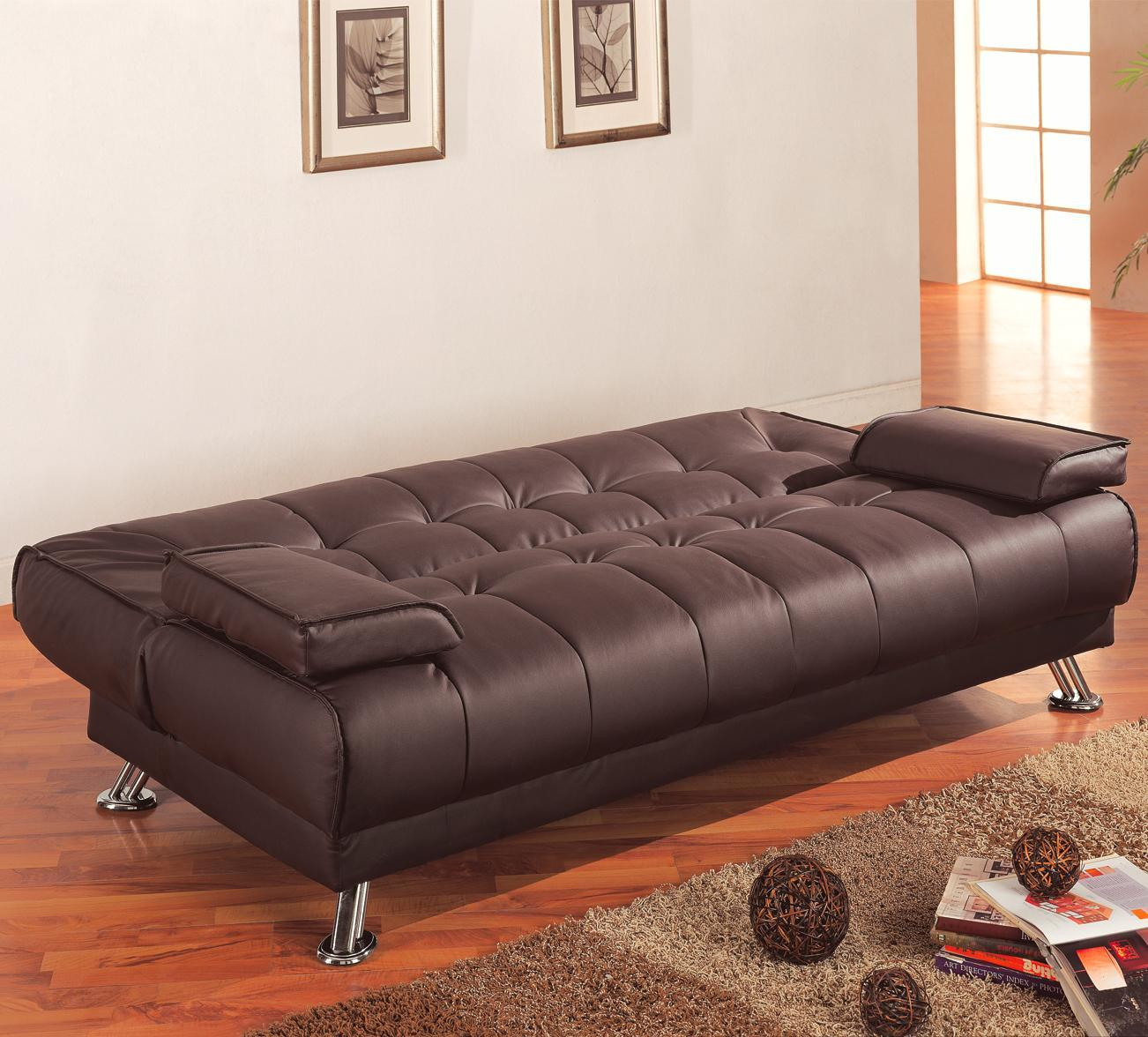 coaster home furnishings casual sofa bed amazon    coaster futon sofa bed with removable arm rests brown      rh   amazon
