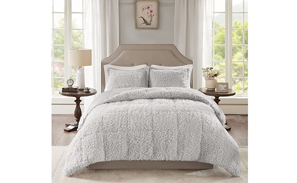 Amazon Com Madison Park Nova Luxury Soft Mohair Reverse Faux Mink Comforter Set Full Queen Grey Home Kitchen