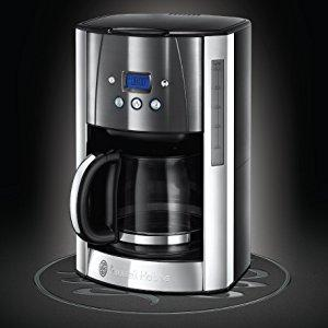 Acero Inoxidable Gris 1.8 litros 12 Tazas 1000 W Russell Hobbs Luna Moonlight Cafetera Jarra de Cristal