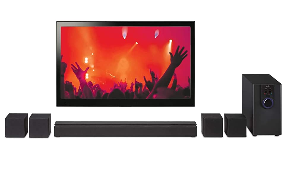 Amazon Com Ilive 5 1 Home Theater System With Bluetooth Wall Mountable 26 Inch Speaker With 4 Satellite Speakers Ihtb138b Black Home Audio Theater