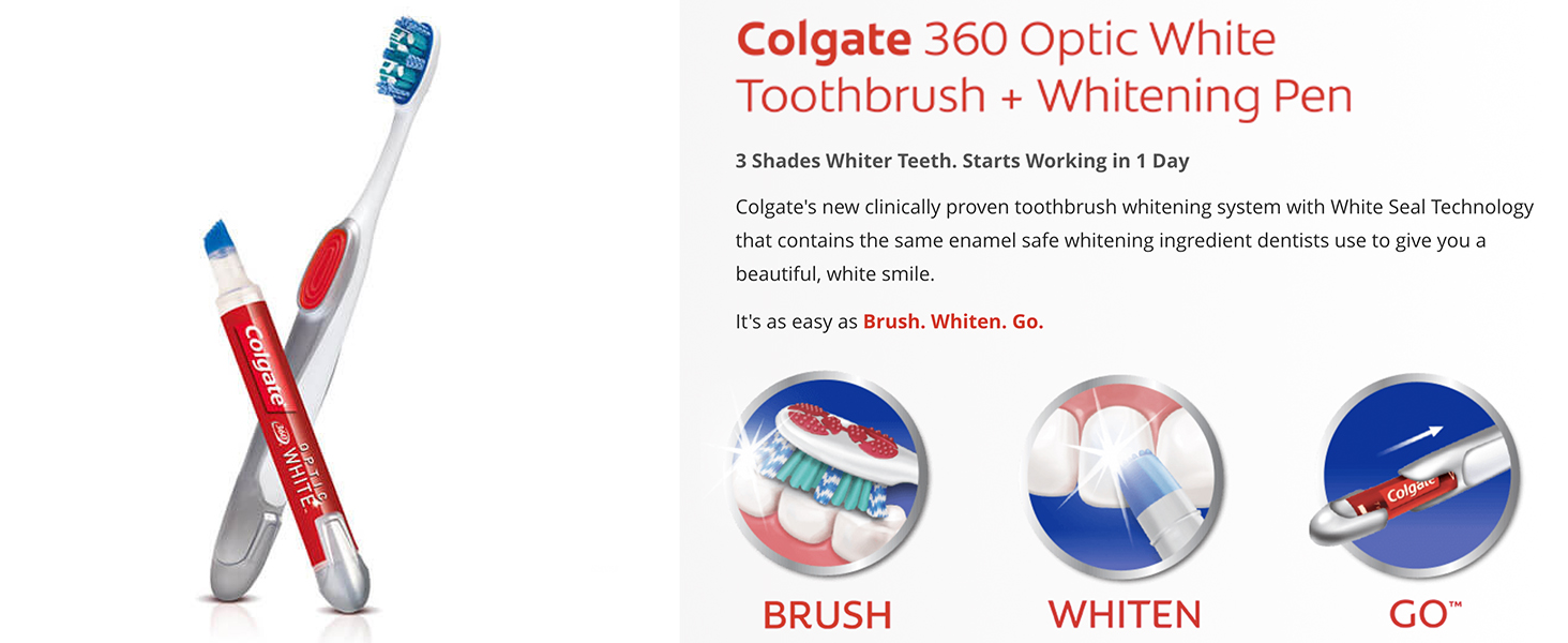 Colgate Optic Whitening Pen and toothbrushColgate Optic Whitening Pen and toothbrush