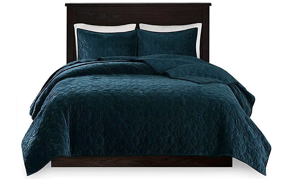 Home Collection Velvet 3 Piece King//California King Modern Quilted Coverlet Bedspread Set Velvet Solid Blue//Teal Soft Touch New