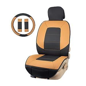 Amazon Basics Luxuriöses Sitzbezug Set Seitenlos Universale Passform Aus Kunstleder Mit Lenkradbezug Und Gurtpolstern Schwarz Und Braun Auto