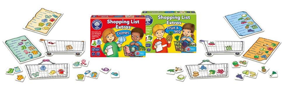 Orchard Toys Shopping List Extras Clothes and Fruit and Veg