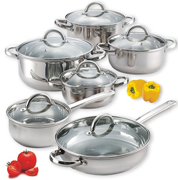 Cook N Home 12 Piece Stainless Steel Set Amazon Ca Home