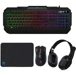 RGB LED Gaming Combo Keyboard, Mouse, Headphone and Mouse Pad - 4pcs GAMING COMBO